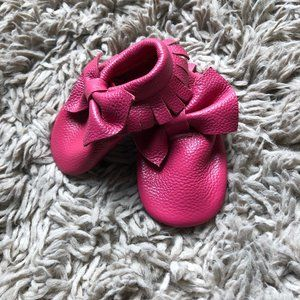 Coral Pear Leather Moccasins